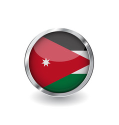 flag of jordan button with metal frame and shadow vector image