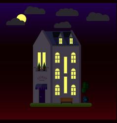 flat house at night three-storey vector image