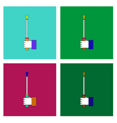 Flat icon design collection sex stick in hand vector