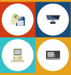flat icon laptop set of computing computer mouse vector image