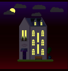 Flat of house at night three-storey vector
