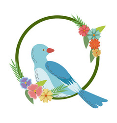 Flowers leaves and love bird frame round natural vector