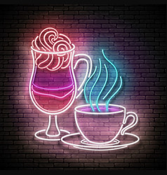 glow cups different coffee vector image