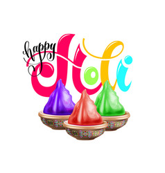happy holi celebration poster to indian spring vector image