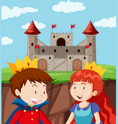 happy prince and princess at castle vector image