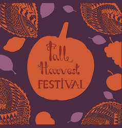 harvest festival poster with hand drawn lettering vector image