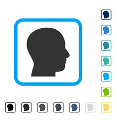head profile framed icon vector image