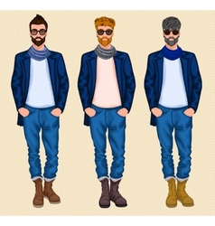 Hipster man set vector image