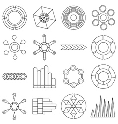 Infographic items icons set outline style vector