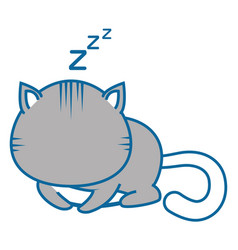 Isolated cute cat sleeping vector