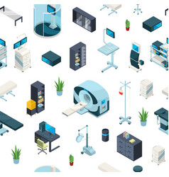 Isometric hospital icons pattern vector