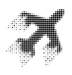 Jet plane halftone dotted icon with fast rush vector