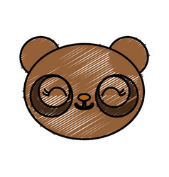 Kawaii goggle bear icon vector