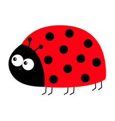 Lady bug ladybird insect icon print side view vector