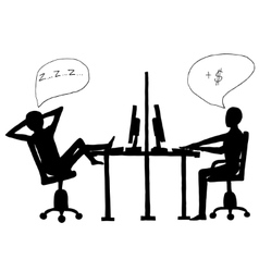 Lazy employee and workaholic vector