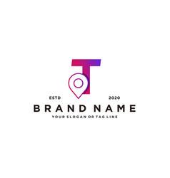 Letter t map pin logo design vector