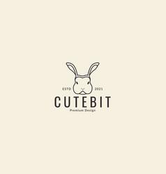 Lines cartoon animal head rabbit angry logo vector