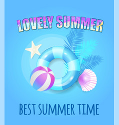 lovely summertime banner lifebuoy and ball vector image