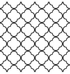 Monochrome quatrefoil outline ornamental pattern vector