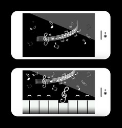 music application on mobile phone with notes and vector image