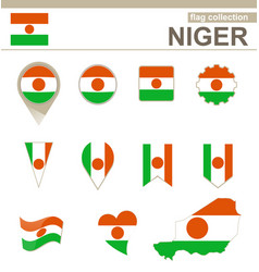 Niger flag collection vector