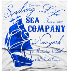 old ship marine club watercolor tee graphic design vector image