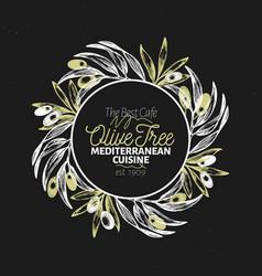 olive branch logo template vintage vector image
