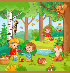 Picnic in the forest with children vector