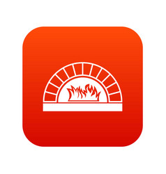 pizza oven with fire icon digital red vector image