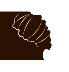 Portrait beautiful african woman in afro turban vector