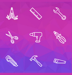 repair icons line style set with multi tool vector image