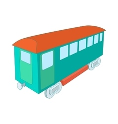 Retro wagon of the passenger train icon vector