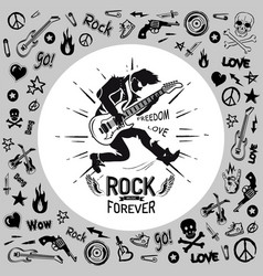 rock forever person guitarist vector image