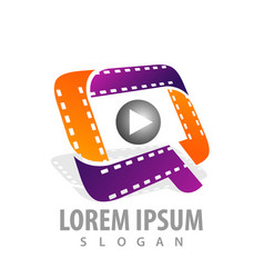 Roll cinema-movie roll film media play logo vector