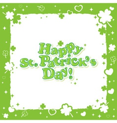 Saint Patricks congratulation postcard with text vector image