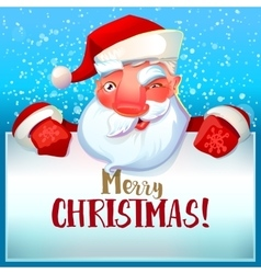 Santa winks and Merry Christmas vector image
