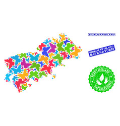 Save nature composition of map of shikotan island vector