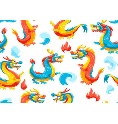 seamless pattern with chinese dragons vector image