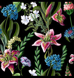 Seamless pattern with lilies and wild flowers vector