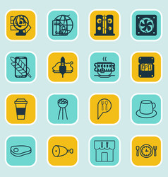 Set of 16 cafe icons includes check in meal hour vector