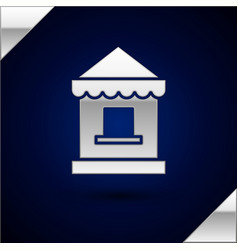 Silver ticket box office icon isolated on dark vector