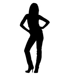 slim attractive girl posing silhouette vector image