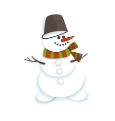 Snowman in bucket and striped scarf smiling vector