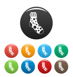 Spotted sock icons set color vector