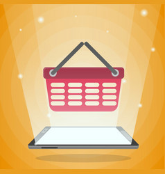 tablet computer with shopping basket in its light vector image