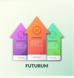 three separate multicolored arrows pointing upward vector image