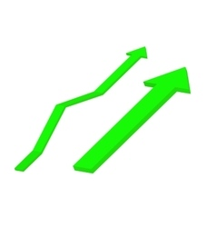 Up green arrow rising trend vector