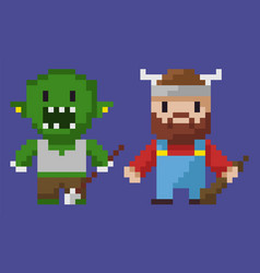 viking pixel character and villain monster zombie vector image