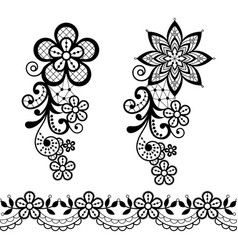 Vintage lace half single pattern set vector