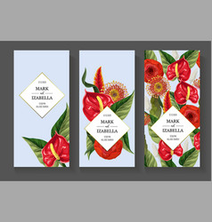 Wedding invitation with anthuriums and tropical vector